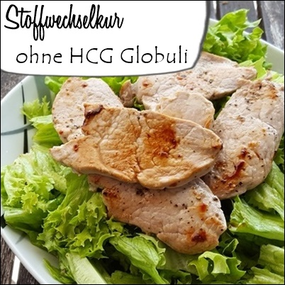 Grüner Salat mit Fleisch - Stoffwechselkur ohne HCG Globuli