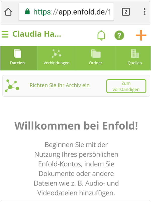 enfold App für private Dokumente