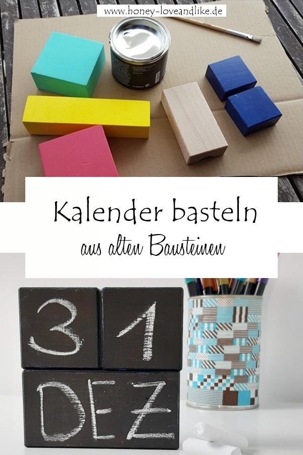 DIY Kalender aus Bauklötzen basteln mit Tafelfarbe
